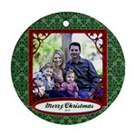 Green Damask Ornament Christmas - Ornament (Round)