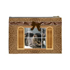 Brown Window Frame Large Cosmetic Bag By Lil    Cosmetic Bag (large)   Kynjdsa51y3s   Www Artscow Com Back