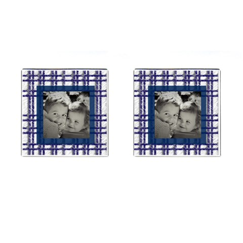 Blue Plaid Picture Cufflinks By Heatherr   Cufflinks (square)   Liqmh96mc4xz   Www Artscow Com Front(Pair)