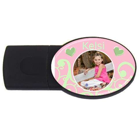 Pink & Lime Usb By Danielle Christiansen   Usb Flash Drive Oval (4 Gb)   26v7pf50bvqp   Www Artscow Com Front