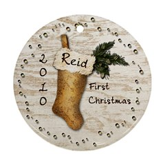 Reid s First Christmas By Sheryl Watkins   Round Ornament (two Sides)   Iusrqw325eld   Www Artscow Com Front
