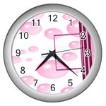 Pink bubble clock - Wall Clock (Silver)