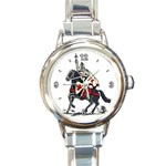 KNIGHTS KNIGHT & HORSE TEMPLAR CROSS ROUND ITALIAN CHARM WATCH