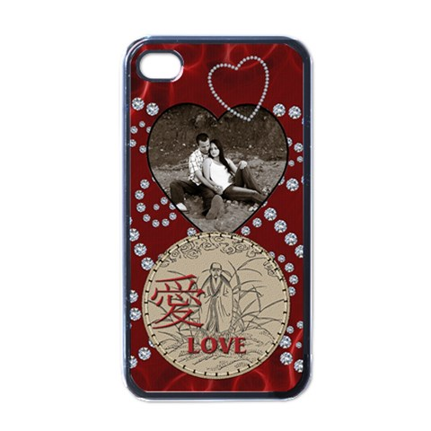 Love Apple Iphone 4 Case By Lil    Apple Iphone 4 Case (black)   Kvagkx70exh3   Www Artscow Com Front