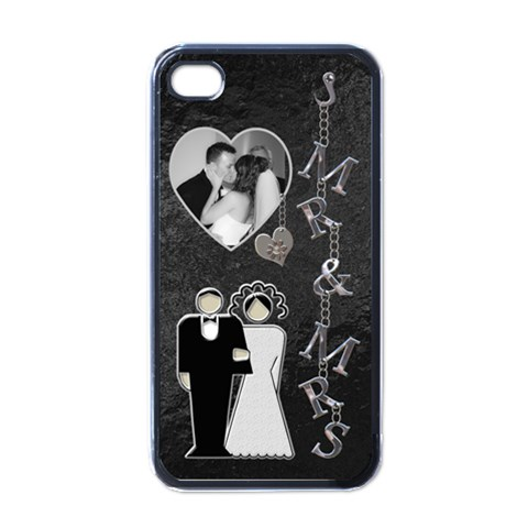 Mr & Mrs Apple Iphone 4 Case By Lil    Apple Iphone 4 Case (black)   R9p7vgrn6ghv   Www Artscow Com Front