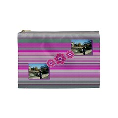 Purple Flowers Cosmetic Bag   Medium By Daniela   Cosmetic Bag (medium)   Q22mzawiw3j6   Www Artscow Com Front