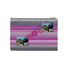 Purple Flowers Cosmetic Bag   Medium By Daniela   Cosmetic Bag (medium)   Q22mzawiw3j6   Www Artscow Com Back