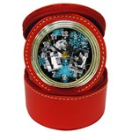 sparkling red clock with blue snowflakes - Jewelry Case Clock