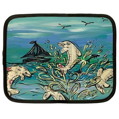 Dolphin Music_med Netbook Case (Large) by kewzooA