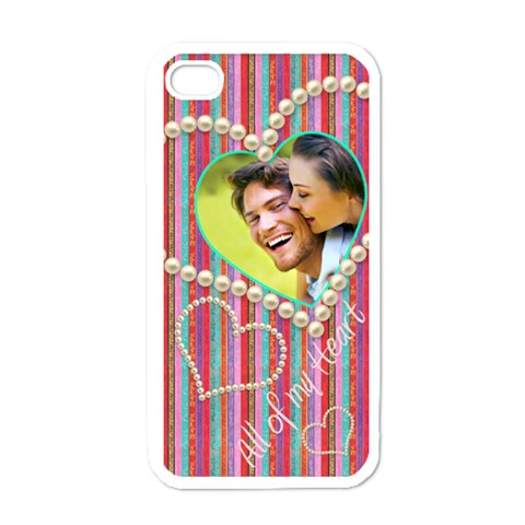 All Of My Heart Candy Stripel I Phone Cover By Catvinnat   Apple Iphone 4 Case (white)   Nql97pzit2z7   Www Artscow Com Front