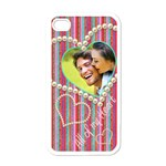 All of my Heart Candy Stripel i phone cover - Apple iPhone 4 Case (White)
