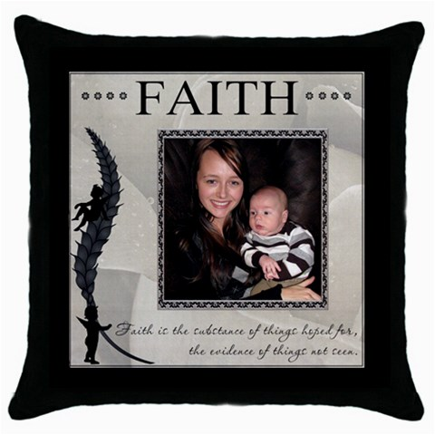 Faith Throw Pillow Case By Lil    Throw Pillow Case (black)   L6gszosgvc1j   Www Artscow Com Front