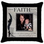 Faith Throw Pillow Case - Throw Pillow Case (Black)