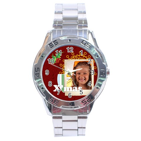 Xmas Watch By Joely   Stainless Steel Analogue Watch   Sj8smvdyok12   Www Artscow Com Front