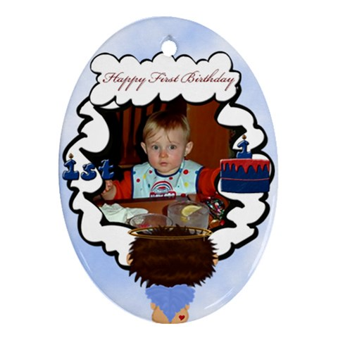 First Birthday By Chere s Creations   Ornament (oval)   N45l8rm3uhco   Www Artscow Com Front