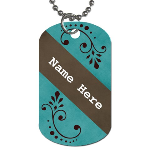 Dog Tage  Blue With Swirls By Jennyl   Dog Tag (one Side)   Fvjseevp770y   Www Artscow Com Front