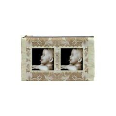 Taupe Damask Small Cosmetic Bag By Catvinnat   Cosmetic Bag (small)   Oepqi5ji9sm2   Www Artscow Com Front