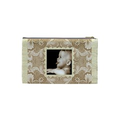 Taupe Damask Small Cosmetic Bag By Catvinnat   Cosmetic Bag (small)   Oepqi5ji9sm2   Www Artscow Com Back