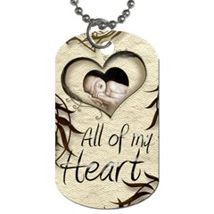 All Of My Heart Mocha And Silk Dog Tag Double Sided By Catvinnat   Dog Tag (two Sides)   Y5b6zdyfmidl   Www Artscow Com Front