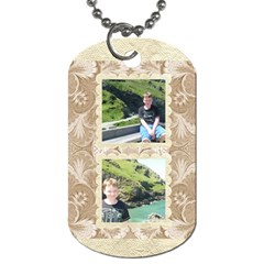 Mocha Damask Family Love Double Sided Dogtag By Catvinnat   Dog Tag (two Sides)   10tupx4plmc7   Www Artscow Com Back