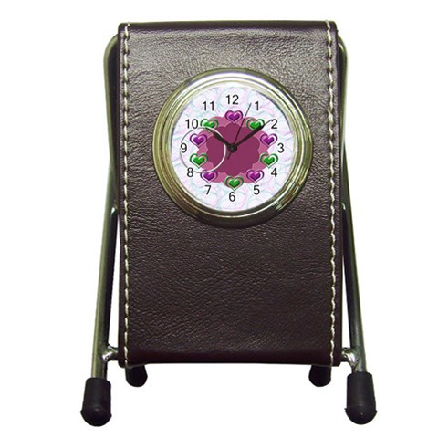 Heart U   Pen Holder Clock By Daniela   Pen Holder Desk Clock   2ickt3tmw1e8   Www Artscow Com Front