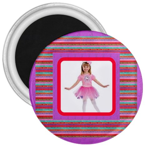 Candy Stripes 3 Inch Magnet By Catvinnat   3  Magnet   Roob65t607rv   Www Artscow Com Front