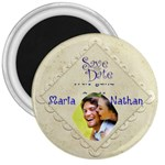 Damask Silk Save the Date 3 inch Magnet - 3  Magnet