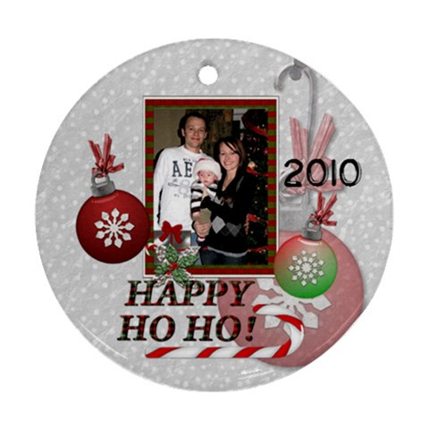 Happy Ho Ho Memories Round Ornament By Lil    Ornament (round)   R9oc73qoywvb   Www Artscow Com Front