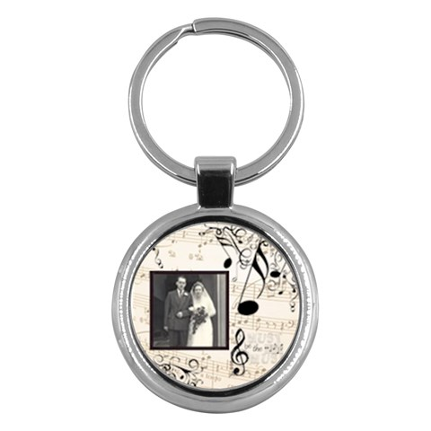 Must Be The Music Round Sepia Keyring By Catvinnat   Key Chain (round)   Fbh9uy3bbr4f   Www Artscow Com Front