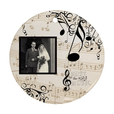 Must Be The Music Sepia Single Side Ornament By Catvinnat   Ornament (round)   I4r9ldhndt4o   Www Artscow Com Front