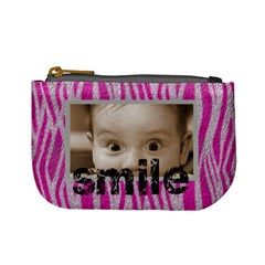 Funk Pink Furry Zebra Smile Mini Coin Purse By Catvinnat   Mini Coin Purse   2864yqrqfqsz   Www Artscow Com Front