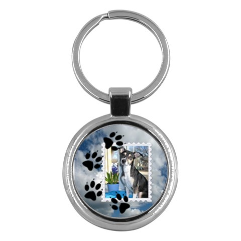 Dog Prints Round Key Chain By Lil    Key Chain (round)   F9z2bjba0hy5   Www Artscow Com Front