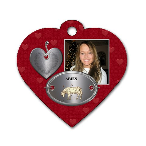 Aries Zodiac Heart Dog Tag By Lil    Dog Tag Heart (one Side)   6mmjls7rfky4   Www Artscow Com Front