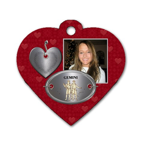 Gemini Zodiac Heart Dog Tag By Lil    Dog Tag Heart (one Side)   A4j9ti2vmjnu   Www Artscow Com Front