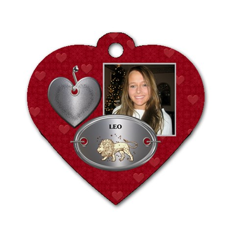 Leo Zodiac Heart Dog Tag By Lil    Dog Tag Heart (one Side)   K5etuih2otry   Www Artscow Com Front
