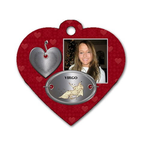 Virgo Zodiac Heart Dog Tag By Lil    Dog Tag Heart (one Side)   3b20bfnyjzu1   Www Artscow Com Front