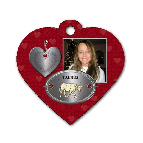 Taurus Zodiac Heart Dog Tag By Lil    Dog Tag Heart (one Side)   Osqsmtmbsveh   Www Artscow Com Front