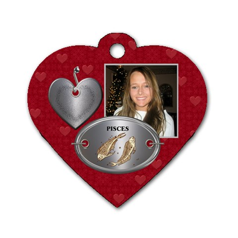 Pisces Zodiac Heart Dog Tag by Lil Front