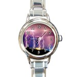 LIGHTNING FILLED SKY RAIN THUNDER STORM ROUND ITALIAN CHARM WATCH