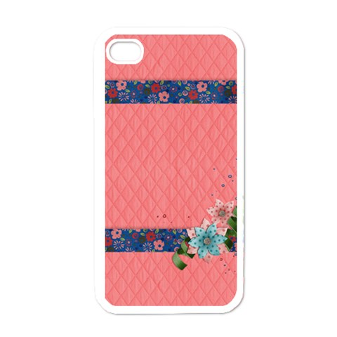 Pink & Blue Flowers  Iphone Case Template By Mikki   Apple Iphone 4 Case (white)   H4nng0uzginx   Www Artscow Com Front