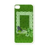 Green Butterfly & Lace-Iphone case template - Apple iPhone 4 Case (White)