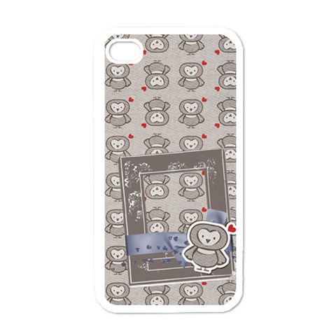 Owl (who s Calling?)  Iphone Case Template By Mikki   Apple Iphone 4 Case (white)   6wjqhhn7ch70   Www Artscow Com Front