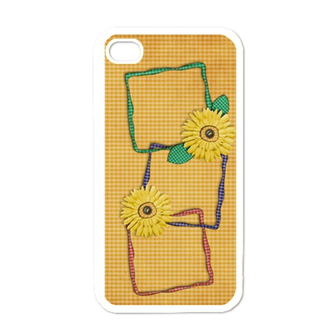 Gingham & Daisies Iphone Case Template By Mikki   Apple Iphone 4 Case (white)   Bt9wg8ltjpnx   Www Artscow Com Front