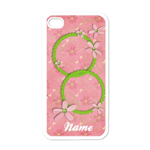 Pink Flowers Iphone Case Template By Mikki   Apple Iphone 4 Case (white)   Uakxv95k8l02   Www Artscow Com Front