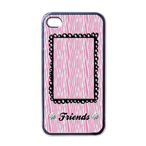 Pink Zebra Iphone Case Template (black) By Mikki   Apple Iphone 4 Case (black)   Yjzduprgn0zn   Www Artscow Com Front