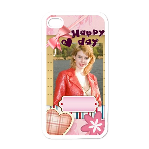 Love Of Happy  By Joely   Apple Iphone 4 Case (white)   Ligs4ji80vte   Www Artscow Com Front