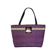 Mock Python Purple Photo Buckle Classic Shoulder Bag By Catvinnat Back