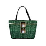 Mock Croc Green n Gold Photo Buckle Classic Shoulder Bag - Classic Shoulder Handbag