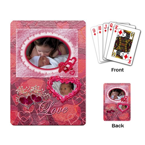 Love Pink Heart Rose2 Playing Cards By Ellan   Playing Cards Single Design   Bwagx6n6fuqe   Www Artscow Com Back