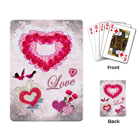 Love Pink Lace Heart Rose Playing Cards W Photos By Ellan   Playing Cards Single Design   I48mbkad4zm6   Www Artscow Com Back